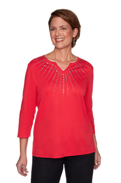 Image: Women's Sunburst Sparkly Embellished Knit Top