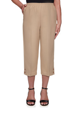 Image: Women's Textured Button Detail Capri