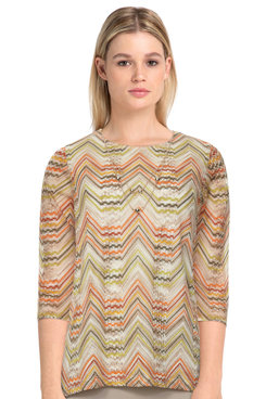 Image: Women's Textured Lightweight Knit Top With Necklace