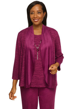 Image: Women's Textured Suede Trim Two-For-One Lightweight Top