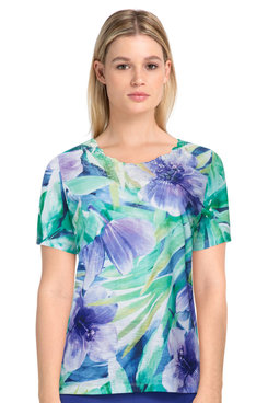 Image: Women's Tropical Print Short Sleeve Knit Top