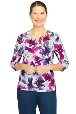 Image: Women's Watercolor Floral Embellished Neck Top