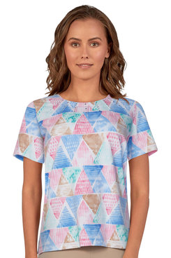 Image: Women's Watercolor Geo-Print Soft Knit Short Sleeve Top