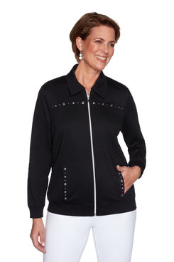 Image: Women's Zip-Front Embellished Long Sleeve Jacket