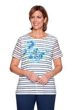 Image: Yoke Floral Stripe Top